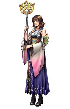 Yuna: Final Fantasy X/ Dissidia 012. A powerful summoner who skill with calling aeons is meant to fight Sin.