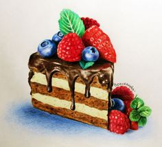 Cake Drawing, Food Drawing, Donut Drawing, Dessert Illustration, Watercolor Illustration, Cupcakes, Desserts Drawing, Sweet Drawings, Art Drawings