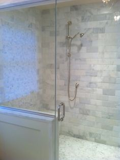 NOTE:  half wall with tile ONLY on top and side!!!!    Finely Frugal: Before & After - Master Bath