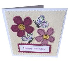 Applique Butterfly and flower Birthday textile card £3.50