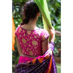 Buy Fuchsia Pink Brocade Blouse With Purple Edging online in India at best price. Did somebody say crop top with saree? Don this faux crop top in brocade designed with a princess cu