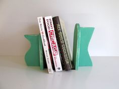 Vintage Handmade Bookends Repurposed Wood Bookends Spring Green Chalk Paint…