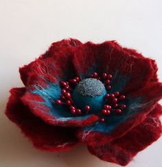Hand Felted Flower Brooch, Wool Felt Jewelry ,Felted Flower ,Poppy Pin, Red & TurquoiseA little bit different poppy(MADE TO ORDER) via Etsy