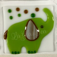 Fused glass green elephant night light by LaGlasSea