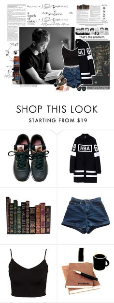 """""""Talk Room - Studying with Namjoon"""" by luminoussuga ❤ liked on Polyvore featuring New Balance, Hood by Air, American Apparel and Glamorous"""