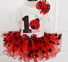 Girls First Ladybug birthday outfitRed and Black by KidsFunLand
