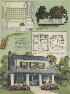 1924 Radford Dixon  Here's an uncommon plan for 1924: The Dixon by William A. Radford Company. Unlike the vast majority of houses designed for the middle class, the Dixon has dressing rooms (walk-in closets) for each bedroom plus a secondary closet. For the typical homemaker, this plan must have seemed like the most innovative thing to come along since the electric range.