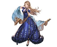 1girl arm_behind_back breasts brown_hair card catalina_(granblue_fantasy) cleavage dress frills full_body granblue_fantasy high_heels holding jewelry looking_at_viewer medium_breasts minaba_hideo necklace official_art red_eyes sleeveless smile solo standing transparent_background