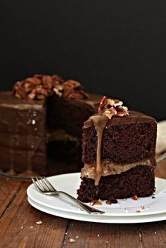Chocolate Bourbon Pecan Cake. A sliver of a slice is all you need.
