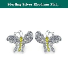 Sterling Silver Rhodium Plated Yellow CZ Butterfly Stud Earring. • Sterling Silver CZ Butterfly Earrings Metal : .925 Sterling Silver Finish : Rhodium Plated Product Type : Earring.