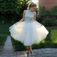 High Neck Crystal Homecoming Dress, Princess Tea-length Homecoming Dress with Pleats, Elegant White Tulle Homecoming Dress, Short Homecoming Dresses