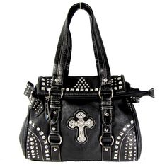 New Shoulder Handbag Gothic Rhinestone Cross Stud Decor Satchel Purse Black | eBay