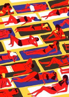 Best Virginie Morgand Illustration French Beach images on Designspiration Design Textile, Design Floral, Art Design, Art And Illustration, People Illustration, Outline Artists, Beach Images, Art Graphique, People Art