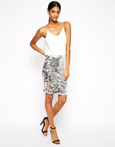 cc38b5ce15f285 TFNC Cami Bodycon Dress With Sequin Skirt at asos.com