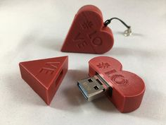 USB Stick-Motif: Heart, Love, Love - USB / / - USB Transfer rates: Read: up to MB/s Write: up to MB/s Made in Germany *** Dimensions (LxBxH): Material: PLA, Plastic Design, model creation and printing are our core competencies Core Competencies, Usb Stick, 3d Modelle, Plastic Design, Nerd, Gadgets, Usb Flash Drive, 3d Printing, Handmade Items