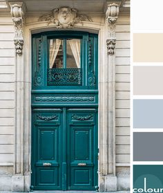 teal grand entry door in paris, color palettes, color combinations, color schemes, color ideas, color for interiors, teal green, dark green, emerald green, pantone shaded spruce