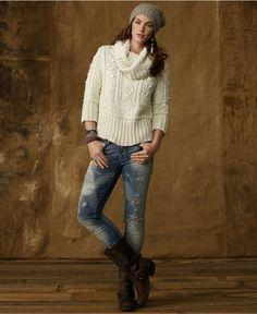 Denim & Supply Ralph Lauren Sweater, Three-Quarter-Sleeve Ribbed Turtleneck - Womens Sweaters - Macy's Fall Winter Outfits, Winter Fashion, Winter Clothes, Winter Style, Tomboy Fashion, Denim Fashion, Fall Sweaters, Sweaters For Women, Skinny Jeans With Boots