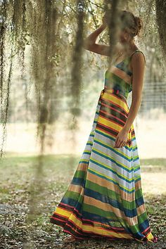 still searching for your perfect go-to maxi dress? with pullover styling and a tie-waist detail, this could be the one. I love the irregular stripes and gorgeous summer colors.