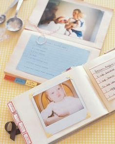Keepsake journals can hold baby's favorite recipes, along with photographs of her reactions to new foods and pictures of her cake at every birthday. Add a list of food allergies plus tricks for getting her to eat her vegetables and they become practical references for baby-sitters.