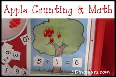 Apple Counting and Math with Water Beads - 3 Dinosaurs