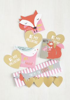 Foxes + Hearts = yes, please :: Fauna Fondness Valentine Set