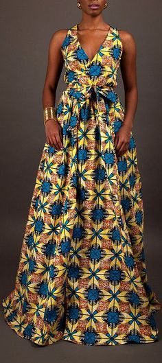 NEW The Diana Maxi Dress. V-neckline wrap dress. Sleeveless. Sash wrap tie. Maxi length skirt w/ pockets. Ankara | Dutch wax | Kente | Kitenge | Dashiki | African print dress | African fashion | African women dresses | African prints | Nigerian style | Ghanaian fashion | Senegal fashion | Kenya fashion | Nigerian fashion | Ankara crop top (affiliate)