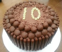 Chocolate 10th Birthday Cake decorated with Maltesers Galaxy Counters & Cadbury Fingers