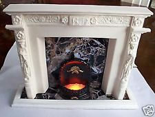 """roomboxs fireplace fits 10"""" - 11.5"""" dolls & working grate new"""
