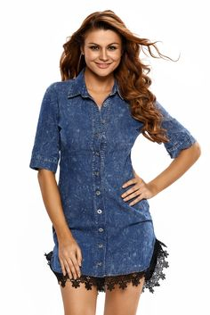 4bbbf18195f6f Lace Trim Button Down Denim Shirt Dress