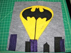 Batman Page for Baby D's Quiet Book - the Bat symbol slides up and down the thread