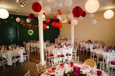 Retro Red and Polka Dots For A 1950s Style Village Hall Christmas Wedding