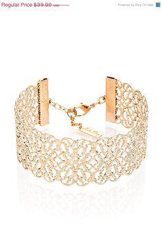 ON SALE Filigree Bracelet Rose Gold Bracelet by LuluMayJewelry