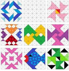 Quilting patterns easy triangle new ideas Barn Quilt Patterns, Pattern Blocks, Quilting Patterns, Half Square Triangle Quilts, Square Quilt, Patch Quilt, Quilt Blocks, Quilting Projects, Quilting Designs