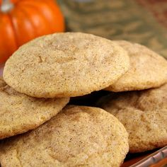 Pumpkin Snickerdoodles.  FROM VAL - Yummy! I used fresh puréed pumpkin and cookies have great flavor. I forgot to flatten the first 2 batches - they still baked great for 14 min but they are softer - almost like scone but not as dry - flattened last 2 batches and bake at 15 min you still get a soft cookie - great recipe