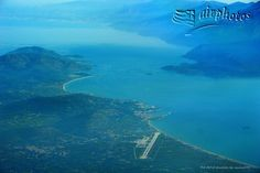 Island of Samos Greece - The airport then Pythagorion - on the left hand Samos , on the right Turkey.