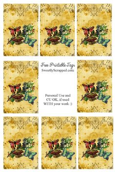 Free Printable Butterfly Tags with Frame Design