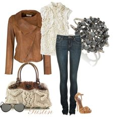 Lace Tank and Leather Jacket :) KILL FOR THIS JACKET