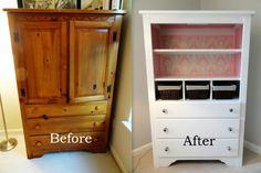 Rachel's Nest: Pine dresser & armoire makeover.  Makeover for the pine armoire in the Samrick guest bedroom.