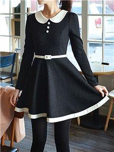 Ericdress Patchwork Peter Pan Collar Belt Casual Dress