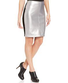 Karen Kane Silver Faux Leather and Black Colorblocked Pencil Skirt - Skirts - Women - Macys #Karen_Kane #Fashion #Macys