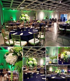 Green LED up lights at a wedding reception. Great color idea for a March wedding!