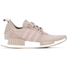Adidas Originals 'NMD R1 PK W' sneakers (2 085 SEK) ❤ liked on Polyvore featuring shoes, sneakers, striped sneakers, lace up sneakers, nude sneakers, adidas originals shoes and beige sneakers