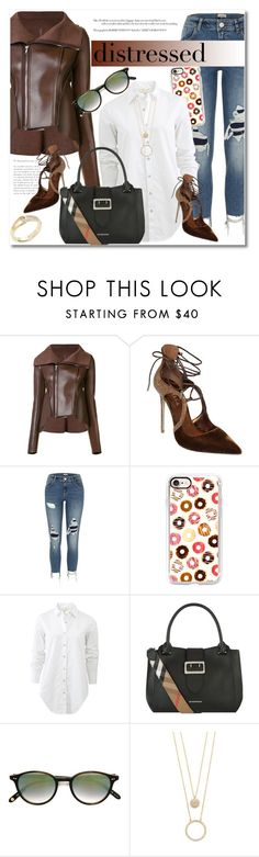 """""""Distressed Denim"""" by vkmd ❤ liked on Polyvore featuring Rick Owens Lilies, Le Silla, River Island, Casetify, rag & bone, Burberry, Garrett Leight, Kate Spade and distresseddenim"""