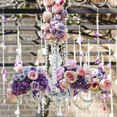 Chandeliers con flores y beads