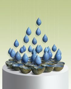 """Gift From Above,"" Glazed ceramic sculpture of water droplets falling from the sky by Naoko Okabe. She explains her inspiration for the piece."