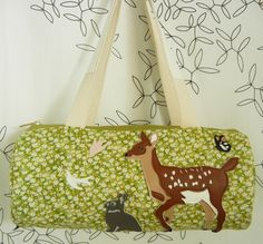 Woodland Animals Stella the Dear and Peter the Rabbit Floral Daisy Vintage Inspired Cotton Canvas Duffel Tote Bag Purse with Vinyl Applique. 110.00, via Etsy.