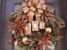 Elegant Bronze Brown Golden Poinsettias Christmas  Holiday Wreath- Free Shipping-. $149.00, via Etsy.