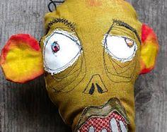 Blue Martian handmade monster art doll