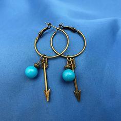 Jade with arrow hoop earrings, jade jewelry, arrow earrings, boho style, gift for her by JewelrygypsyDesigns on Etsy