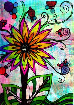 a doodle a day…Wild Beauty..!..just playing around with some simple lines and some color..! ~♥K8♥~